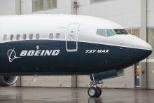 Boeing's 737 Max 9 jetliner at the company's manufacturing facility in Renton, WA.