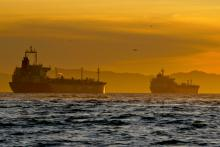 Oil tankers anchored near the Port of Long Beach, Calif. Photo credit: Tim Rue/Bloomberg.