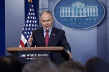 EPA Administrator Scott Pruitt speaking at the White House.