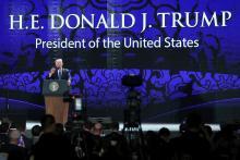 President Donald Trump speaks at the Asia-Pacific Economic Cooperation (APEC) CEO Summit in Da Nang, Vietnam.