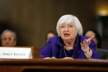 Federal Reserve Chair Janet Yellen speaks at a Senate Banking Committee Hearing.