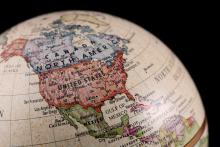 North America on a globe.