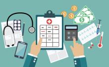 Health insurance illustration: calculator, money, syringe, pills, bills.