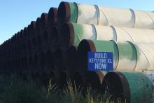 Pipe to be used for the Keystone XL pipeline in a field in Gascoyne, ND.