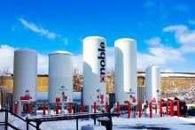 Tanks at a Noble Gas Solutions facility in New York.