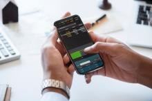 Finance app on a smart phone.