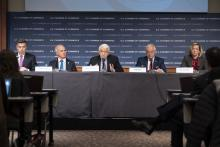 U.S. Chamber CEO Tom Donohue leads a press conference on the coronavirus with executives from the travel, hotel, and retail industries.