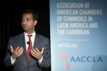 Rep. Carlos Curbelo (R-FL) spoke at the 2018 Outlook on the Americas AACCLA's Annual Spring Meeting in Miami.