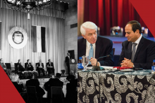 Left: Egyptian President Anwar Sadat addresses the U.S.-Egypt Business Council's launch on March 27, 1979. Right: U.S. Chamber of Commerce President and CEO Tom Donohue speaks to Egyptian President Abdel Fattah El Sisi on April 3, 2017.