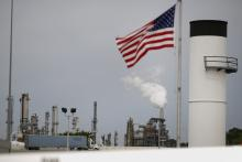 A U.S. flag flies outside of the Valero Energy Corp. oil refinery in Memphis, Tennessee.