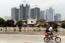 Apartment buildings under construction in Jakarta, Indonesia.