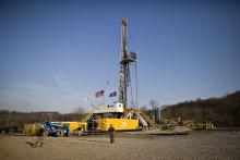 A natural gas drilling rig in Bradford County, Pennsylvania.