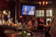 A viewing party for the third U.S. presidential debate in San Francisco, Cal.