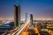 Riyadh, Saudi Arabia, at night.