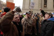 Union demonstrators in Lansing, Michigan, protesting Michigan's right-to-work law in 2012.