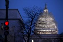 Scaffolding surrounds the U.S. Capitol Dome in Washington, D.C.