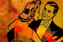 Illustration of a ballroom dancing couple.