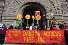 Protesters march against the Dakota Access Pipeline in Minneapolis, Minn.