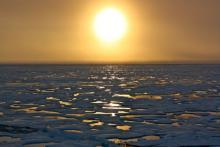 Sunset on the horizon in the Chukchi Sea.