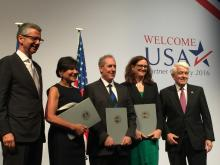 U.S. Chamber President and CEO Thomas J. Donohue with Secretary Pritzker, Ambassador Froman, Commissioner Malmstrom, and BDI President Grillo