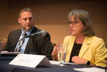 AutoZone's Matthew Harmon (left) and Dow Chemical's Janet Boyd talk about health policy changes employers want.