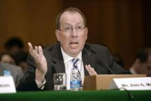 John Murphy, U.S. Chamber of Commerce's senior vice president for international policy, testifies at a hearing before the Senate Banking, Housing and Urban Affairs Committee.