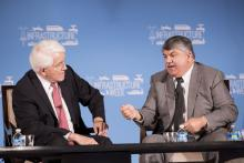 U.S. Chamber of Commerce President and CEO Tom Donohue (left) and AFL-CIO President Richard Trumka at Infrastructure Week 2016 kickoff event.