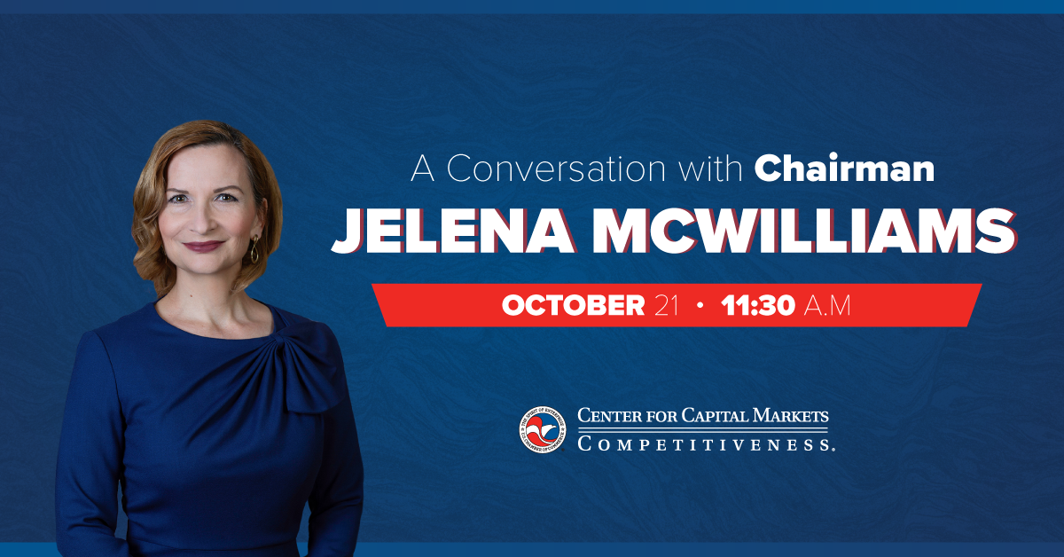 FDIC Chairman Event promo image featuring Jelena McWilliams, Chairman of the Federal Deposit Insurance Corporation (FDIC).