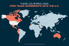 Map of countries with free trade agreements with the United States.