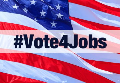 American flag, with hashtag overlay of #Vote4Jobs