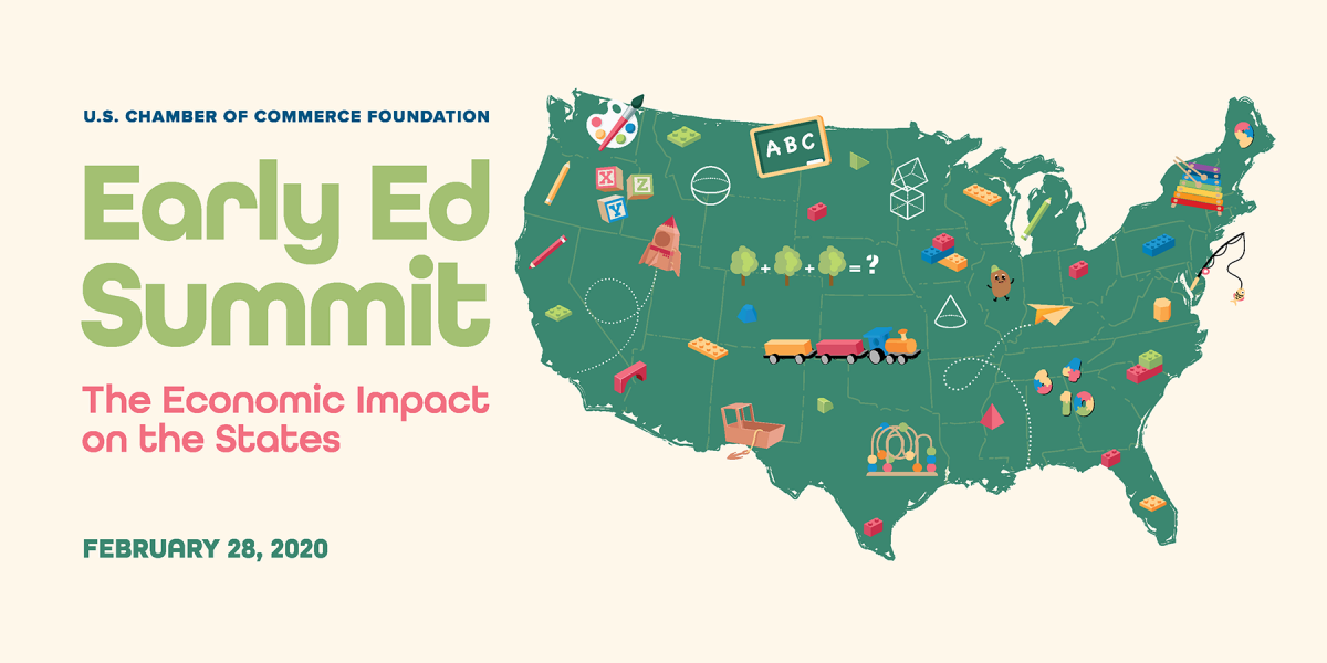 2020 Early Ed Summit Key Graphic - Green map of U.S. with education related icons