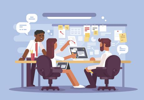 Illustration of office workers working around a table.