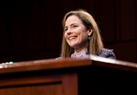 Judge Amy Coney Barrett at a Senate Judiciary Committee Supreme Court confirmation hearing.