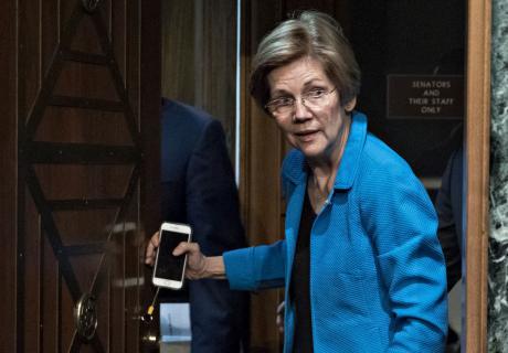 Senator Elizabeth Warren (D-MA) arrives to a Senate Banking Committee hearing.