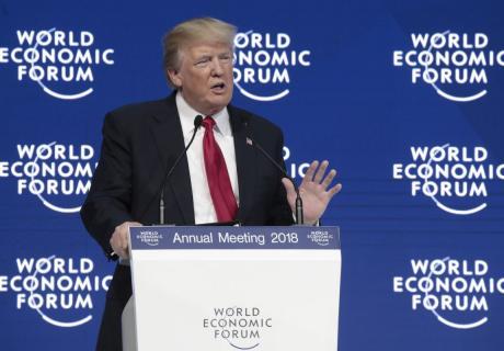President Donald Trump speaks at the World Economic Forum in Davos, Switzerland.