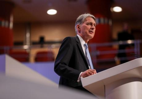 Philip Hammond, U.K. Chancellor of the Exchequer, speaks at a Conservative Party annual conference in Birmingham, U.K.