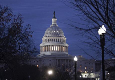 U.S. Capitol before sunrise.