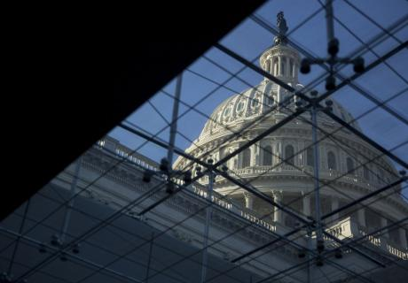 U.S. Capitol dome seen through the U.S. Capitol Visitor Center.