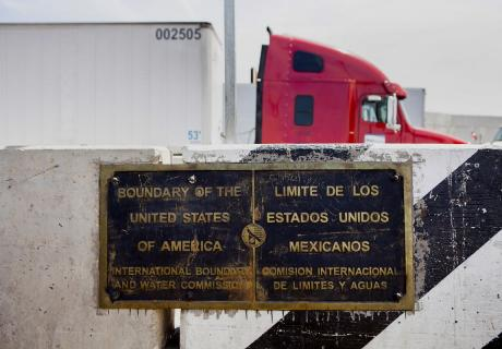 A truck waits to enter Mexico at the Calexico East Port of Entry in Calexico, CA.