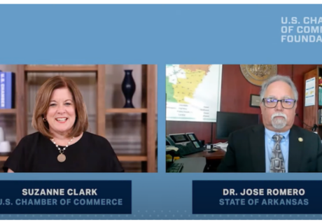 Arkansas Secretary of Health Dr. Jose Romero sits down with U.S. Chamber President and CEO Suzanne Clark.