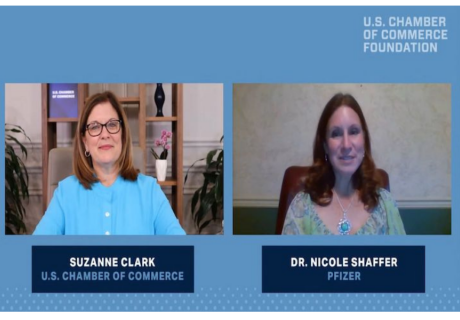 Dr. Nicole Shaffer, Director of Occupational Health and Wellness at Pfizer joins the U.S. Chamber Foundation's Path Forward event this week.