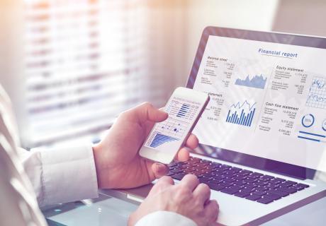 Finances on laptop