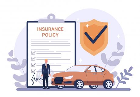 Vector illustration of a man and a car insurance policy.