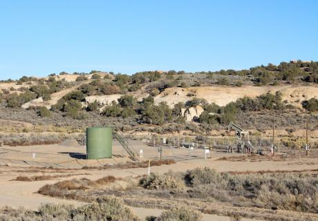 Natural Gas Fracking near Farmington, NM, in an area that is plentiful with natural gas. Fracking is a common practice in this area.