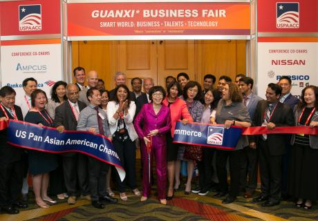 Susan Au Allen (center) with her team at the US Pan Asian American Chamber of Commerce.