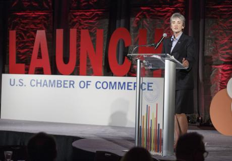 Secretary of the Air Force Heather Wilson spoke at the U.S. Chamber's LAUNCH: Industry Taking Off event.