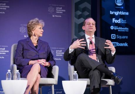 Small Business Administration Administrator Linda McMahon (left) and Labor Department Secretary Alexander Acosta speak at the U.S. Chamber Small Business Summit.
