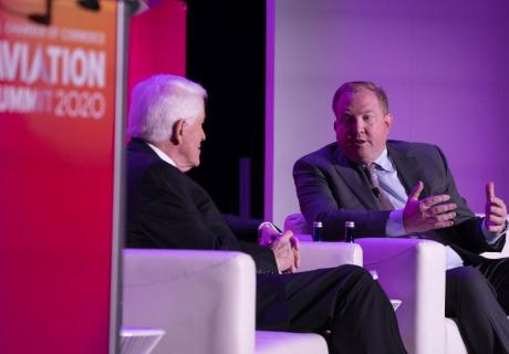 Stan Deal (right), President and CEO, Boeing Commercial Airplanes, and Executive Vice President, the Boeing Company, chatted with U.S. Chamber CEO Tom Donohue at the 2020 Aviation Summit.