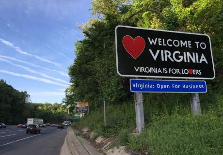 Welcome to Virginia highway sign.