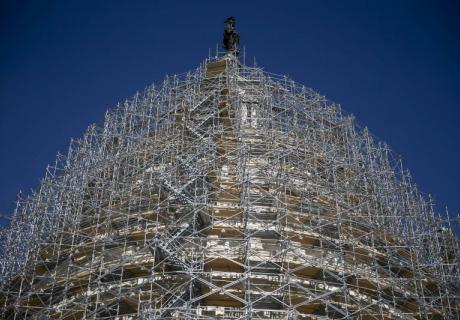 Scaffolding surrounds the U.S. Capitol dome.